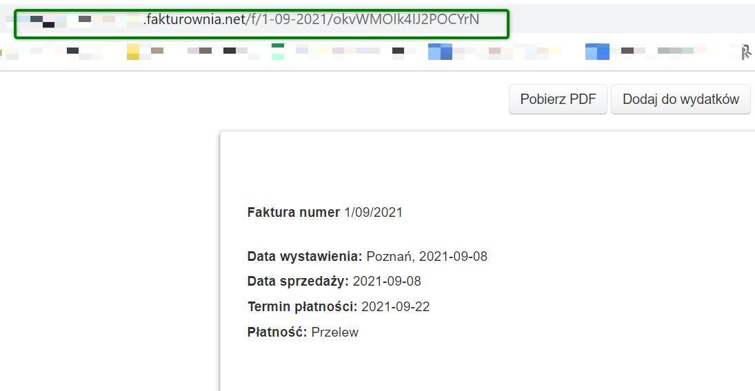 widok adresu url faktury do skopiowania