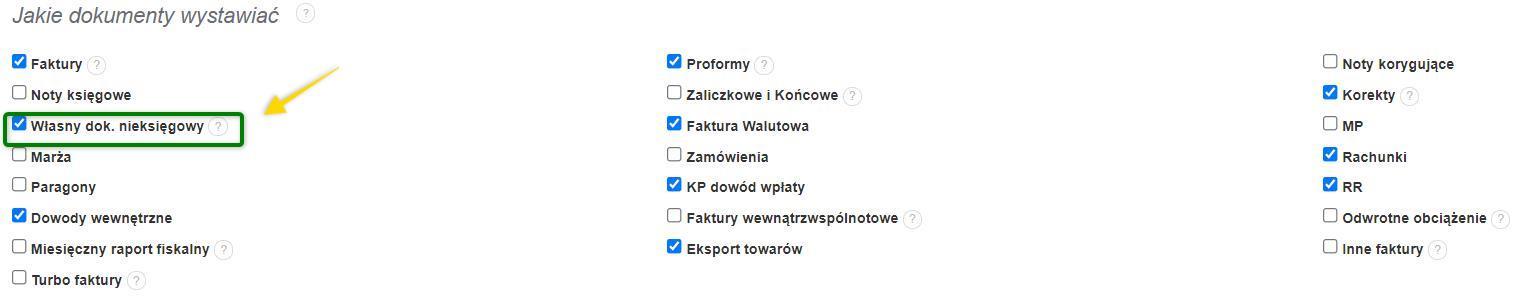 screen przedstawiający jakie dokumenty można wystawiać w fakturowni