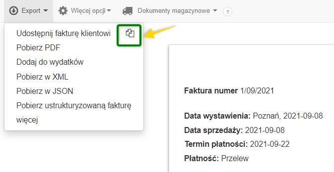 widok przycisku dzięki któremu możemy skopiować adres URL faktury do udostępnienia