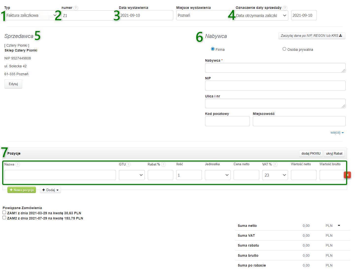 screen przedstawiający wymagane do wystawienia faktury zaliczkowej dane